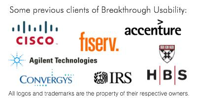 Some previous clients of Breakthrough Usability